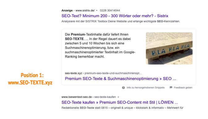 Diese Bild zeigt, was die Erstellung guter Webseitentexte durch eine SEO-Agentur bringen können: das eigene Top-Ranking (Position 1 bei Google). Gute SEO-Texte schreiben lassen lohnt sich.